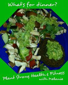 What's for dinner?  I'm having a homemade lentil mushroom burger, salad (homegrown tomatoes & cucumbers, fresh shitake mushrooms, collard greens) with homemade guacamole (homegrown hot peppers). #homegarden #dinner #cleaneating #vegan #glutenfree #plantbased #homemade #shrooms2grow  #plantstronghealthandfitnesswithmelanie
