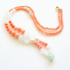 Coral Gemstone Necklace with Moonstones and Jade. $52.00, via Etsy.