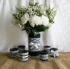 black burlap and white lace covered votive tea candles and vase country chic wedding decorations, bridal shower decor, home decor