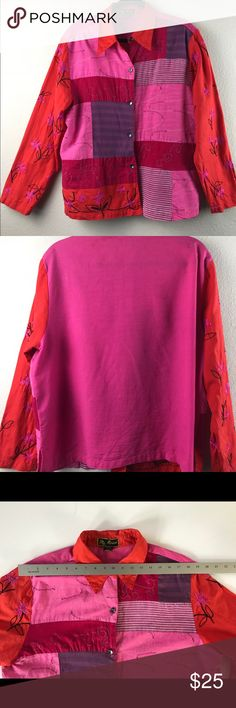 Mirasol Color Block Tunic Top/ Jacket Multi Color Pre-Loved, Freshly Laundered and in excellent condition!  • Size: XL (see images for measurements) • Color: array of vibrant Fuscia, Red, Pink, Purple  • Can Be Worn as a Top or wear over a tank as a Jacket.   SAME DAY/NEXT DAY SHIPPING ✈️✈️  Please be sure to browse my closet for others great items and awesome deals!!!🌺🌺 Mirasol Tops Tunics