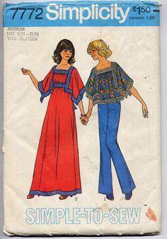 1970s Easy Angel Sleeve Top or Dress Sewing Pattern Vintage Simplicity 7772 Jr. Teen Size Medium. $5.00, via Etsy.