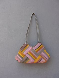 Crocheted Pastel Striped Bag with Leather Strap Grey by StarBags