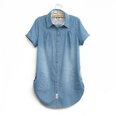 Mori Girl Style Concise Low Pocket Denim Shirt