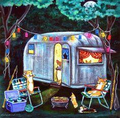 Pembroke Welsh Corgi Giclee Fine Art Print title by DogArtByLyn Fish Tales, Vintage Trailers, Vintage Campers, Vintage Airstream, Pembroke Welsh Corgi, Happy Campers, Looks Cool, Vintage Travel, Vintage Art
