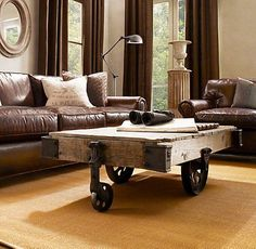 Factory Cart Coffee Table - Love it! Definitely must honey to help build some day!