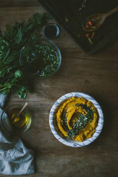 Roasted Carrot Miso Hummus + Carrot-Top Salsa Verde | le jus d
