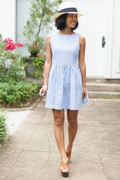Summer Seer Sucker Dress with Boat neckline & Panama Hat - www.liketk.it/w2nG - Kate Style Petite
