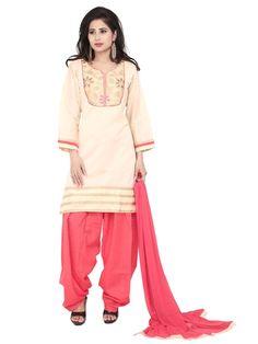 Chanderi Patiala Suit having stones, resham, zari work. Item Code: SLTY1209 http://www.bharatplaza.com/new-arrivals/salwar-kameez.html