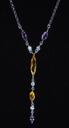 "Elegant Sterling Silver Amethyst Citrine Drop Pendant Necklace 17.5"" NWT #Pendant"