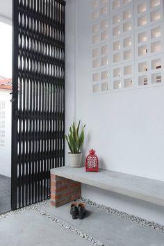 Othello House by Yong Studio Sdn Bhd Minimal House Design, Minimal Home, Interior Exterior, Interior Design, Breeze Block Wall, My Ideal Home, Design Your Home, Diy Garden Decor, Door Design