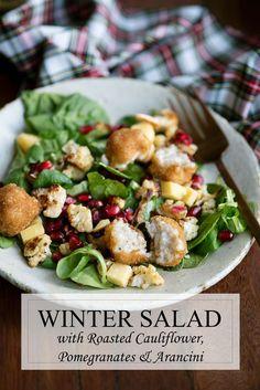 Winter Salad Recipe with Roasted Cauliflower, Pomegranates, Gouda & Lundberg Family Farms Arancini #saladrecipes #wintersalad