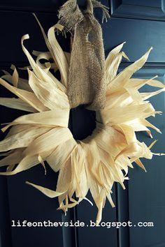 On the V Side: Feels Like Fall! [Fall Decor]  corn husk wreath