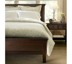 Farmhouse bed from PB - This is what my bed looks like, but in white (the frame, not the linens). I thought the wood was expensive. Then I saw how much it costs at PB. My husband is amazing.
