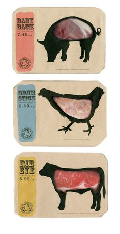 Butcher's by Kei Meguro at Coroflot.com. @Sarah Chintomby Chintomby Reynolds @Cynthia Pomerleau (The Packaging Girl) How did we miss this one on our #meat #packaging pinathon PD