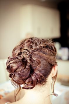 Image by Lola Rose Photography. Bridal hair style. Intricate plait. Low bun.