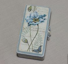 """Купить Купюрница - шкатулка для денег """"Jardin a Papilons"""". - голубой, короб для денег, купюрница"""