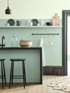 Déco Salon  cuisine vert d'eau
