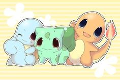 Pokemon!!! Original trio!!! Squritle, Bulbasaur, and Charmander.