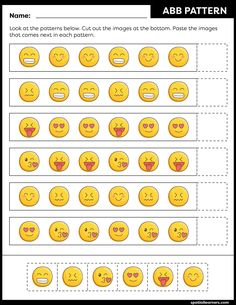 These FREE printable worksheets for kids are great for practicing spatial concepts! These patterns worksheets can be used as homework, bell-ringer activity, warm-up activity, or speech therapy work. Fun activity for your kindergarten or grade 1 students! Free Printable Worksheets, Worksheets For Kids, Activities For Kids, Printables, Pattern Worksheet, Math Patterns, Color Switch, Vocabulary Building, Pattern Names