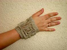 Crochet Cuff BRACELET FREEFORM // OOAK Lace Wrist Cuff via Etsy