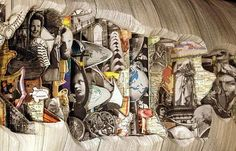 """Detail  - World Books, 2009. """"Brian Dettmer is an American artist who takes old books and turns them into beautiful works of art by cutting away selected parts to reveal layered images and text""""."""