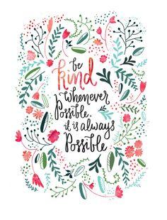 """Be Kind"" watercolor and script art print"