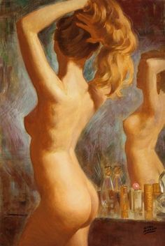 Pin-up and Glamour Art, EARL MORAN (American, 1893-1984). Nude at the DressingTable. Oil on canvas. 30 x 20 in.. Signed lower right. ...