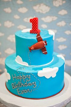 Airplane-Themed Blue and Red Birthday Cake - Project Nursery