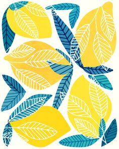 Lemon Tree / Abstract Fruit Art Mini Art Print by moderntropical - Without Stand - 3 x 4 Lemon Art, Modern Tropical, Fruit Art, Welcome Mats, Iphone Skins, Framed Art Prints, Line Art, Abstract Art, Tapestry