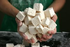 Rustic Homemade Marshmallows Corn/Egg/Refined Sugar Free / This recipe has half the sugar of the average marshmallow and can be made with honey or maple syrup. The honey brings a lovely and unique flavor while the maple syrup makes a more neutral tasting and lovely marshmallow.
