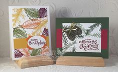 Stampin' Up! Christmas Pines, Reason For The Season, Vintage Leaves and Rose Wonder for a Beginner's Class. Debbie Henderson, Debbie's Designs.