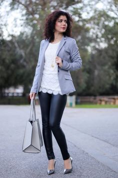 Item Four Ways: Leather Leggings Polished whimsy wears leather leggings for workPolished whimsy wears leather leggings for work Winter Outfits, Casual Outfits, Pattern Mixing, Leather Leggings, Colorful Fashion, Winter Fashion, Mini Skirts, Shirt Dress, Blazer