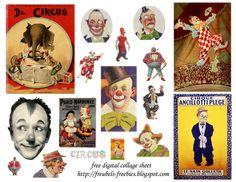 Free digital collage sheet ;   Circus Clowns.