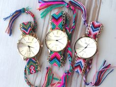Friendship Bracelet Watch--i could easily make this myself!