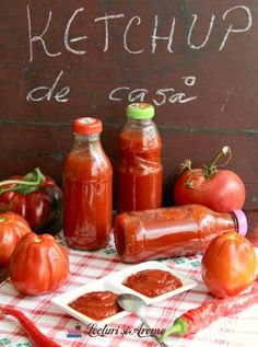ketchup picant de casa Ketchup, Pita, Pickling Cucumbers, Hot Sauce Bottles, Preserves, Pickles, Cookie Recipes, Recipies, Food And Drink