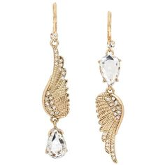 Betsey Johnson Angels And Wings Feather Mis Match Earring ($40) ❤ liked on Polyvore featuring jewelry, earrings, crystal, dangle earrings, wing jewelry, betsey johnson earrings, earring jewelry and angel wing earrings