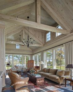 Great room at waterfront estate with beams and paneled cathedral ceiling by Barn. : Great room at waterfront estate with beams and paneled cathedral ceiling by Barnes Vanze Architects, Inc. Home Living Room, Living Spaces, Great Rooms, My Dream Home, Modern Farmhouse, Farmhouse Kitchens, Architecture Design, Cathedral Architecture, Victorian Architecture