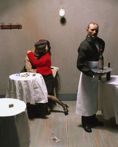War Souvenir #14 (Vincenza. Lovers in the Bar Nazionale. Giovanni Degrada, the waiter, dies in the spring of 1944 in the bombing Paolo Ventura, 2005