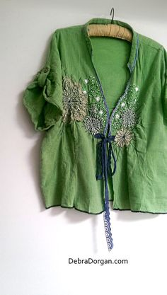 Green Jacket, Vintage Doily, Lace, Blouse, Embroidered, Cheesecloth, Boho, Rustic, Bohemian by AllThingsPretty