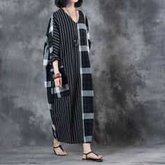 Large Size Checkered Kaftan Dress #large #plussize #checkered #plaid #stripes #linen #dress #elegant #vintage #black #kaftan