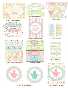 Shabby Chic Garden Tea Party Printable Personalize Water WRAPS. $8.50, via Etsy.