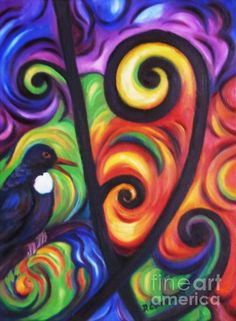 Tui And Koru Painting  - Tui And Koru Fine Art Print
