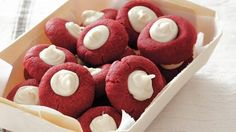 Try this cookie version of the popular dessert - red velvet thumbprint cookies filled with white chocolate is a perfect dessert treat.