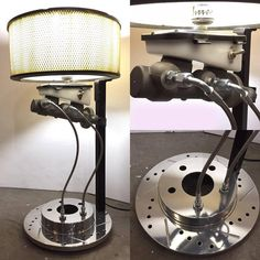 This master cylinder lamp brings excitement to any car themed room. The lamp uses a car rotor as a base, has brake lines connected, and an air filter lamp sh