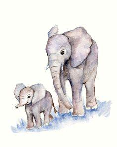 Impression d'éléphants mère et bébé aquarelle Print-8 X 10 pépinières