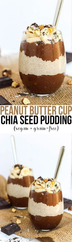 Is there anything you CAN'T do with chia seeds? A bowl of Peanut Butter Cup Chia Seed Pudding will have you feeling like you're eating candy. This chocolatey recipe makes a nutritious breakfast or snack! Vegan Sweets, Vegan Desserts, Healthy Desserts, Vegan Meals, Peanut Butter Healthy Snacks, Nutritious Breakfast, Breakfast Recipes, Dessert Recipes, Vegan Breakfast