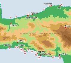 rethymnon beaches map