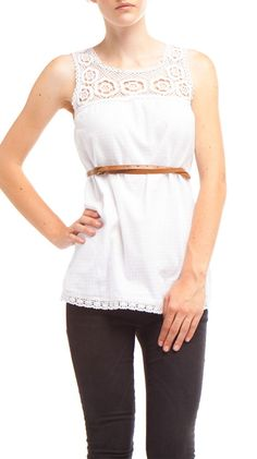 {white lace & woven check top} comes with the leather belt, too!