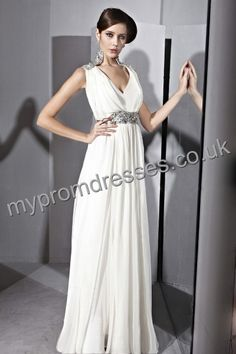 Floor Length Deep-v-neck White Chiffon A-line Evening Dress  http://www.mypromdresses.co.uk