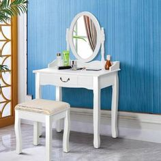 Zeke Wood Makeup Vanity Set with Mirror Bedroom Vanity Set, Vanity Table Set, Vanity Set With Mirror, Bedroom Vanities, Wooden Vanity, Vintage Vanity, Home Design, White Makeup Vanity, Cheap Couch